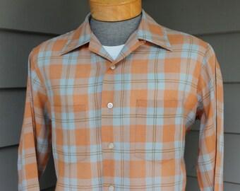 vintage 60's - 70 -Penneys 'Towncraft'- Men's long sleeve shirt w/ button loop collar. Tartan style plaid - Burnt Orange & Blue Gray. Medium