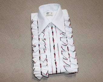 SPECTACULAR...vintage 1970's 'After Six' Men's Tuxedo ruffle shirt. 'new Old Stock'. White w/  Black, Gray, Red trim. Medium  15 1/2 x 33