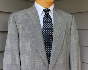 c269d3d8019fc9 vintage 1980's -Dunhill- Men's 2 piece suit. Prince of Wales worsted - All  Wool. Flat front pant w/ belt. US Size 41 - 42