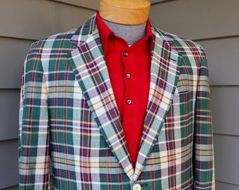 vintage 70's - 80's -Cricketeer- Men's Madras sport coat. 'New Old Stock'. Lightweight and smashing colors. Size 38 Regular