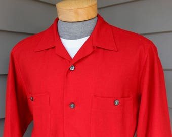 d32d643bdb1 vintage 50 s - 60 s -Pendleton- Men s long sleeve flannel shirt. Solid  color - Red. Unusual model. All wool. Large