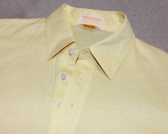 vintage 1980's -Brooks Brothers- Men's Polo - short sleeve knit shirt. Possibly 'New'. Solid Pale Yellow - Pima Cotton Lisle. Medium