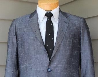"vvintage 1950's Men's -Hong Kong- Custom-made 2 piece suit. Flecky silk. Hollywood waist pant. Size 37 - 38 Reg x 28"" Waist"