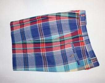 f5f6bc3fe0137 vintage 1980's -Corbin- Men's 'Imported' Madras shorts Great colors. Union  made in USA. Size 32 - Let out from 30