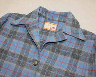 ce9598ac081 vintage Woman s early 1950 s Levi s  49er  style Flannel coat. Blue and  Gray plaid with Red - All wool. Medium