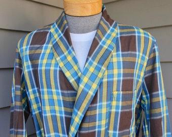 738f22df30 vintage 60 s - 70 s -Sears- Men s bath robe. Tartan style plaid - Vibrantly  colorful