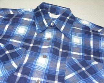 715d21211eb vintage late 1960 s - 1970 s Men s long sleeve Flannel shirt.  New Old  Stock . All Cotton - Vibrant Blues - Tartan style plaid. Medium