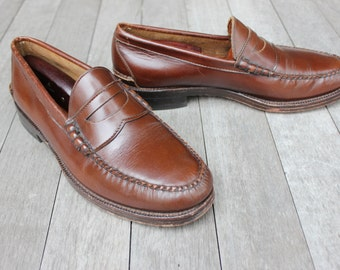 18976410f16 vintage 70 s - 80 s -Johnston   Murphy- Beef-roll Penny Loafers. Unusual  Mahogany Brown - All leather - US made. Men s Size 8 1 2 -9 D