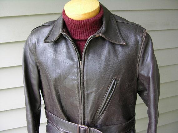 Vintage années 40 50 ' s cheval cuir Veste homme. Demi de longueur taille ceinture pleine. État exceptionnel. Taille 42