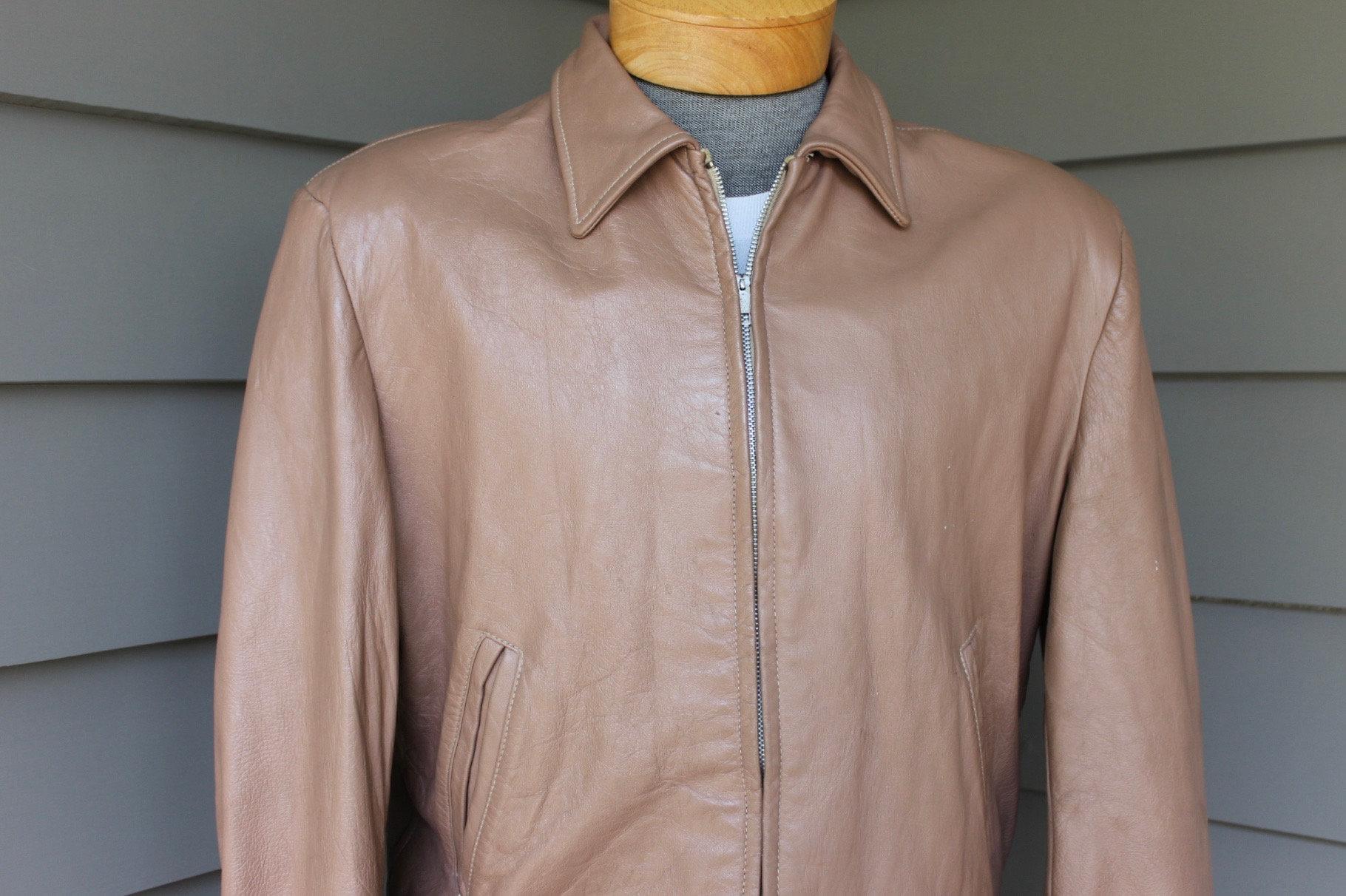 1950s Men's Ties, Bow Ties – Vintage, Skinny, Knit Vintage 1950s -Unknown Maker- Mens Leather Cossack Jacket. Imported Xxx Goatskin - Zipper Front Size 40 42 $154.79 AT vintagedancer.com