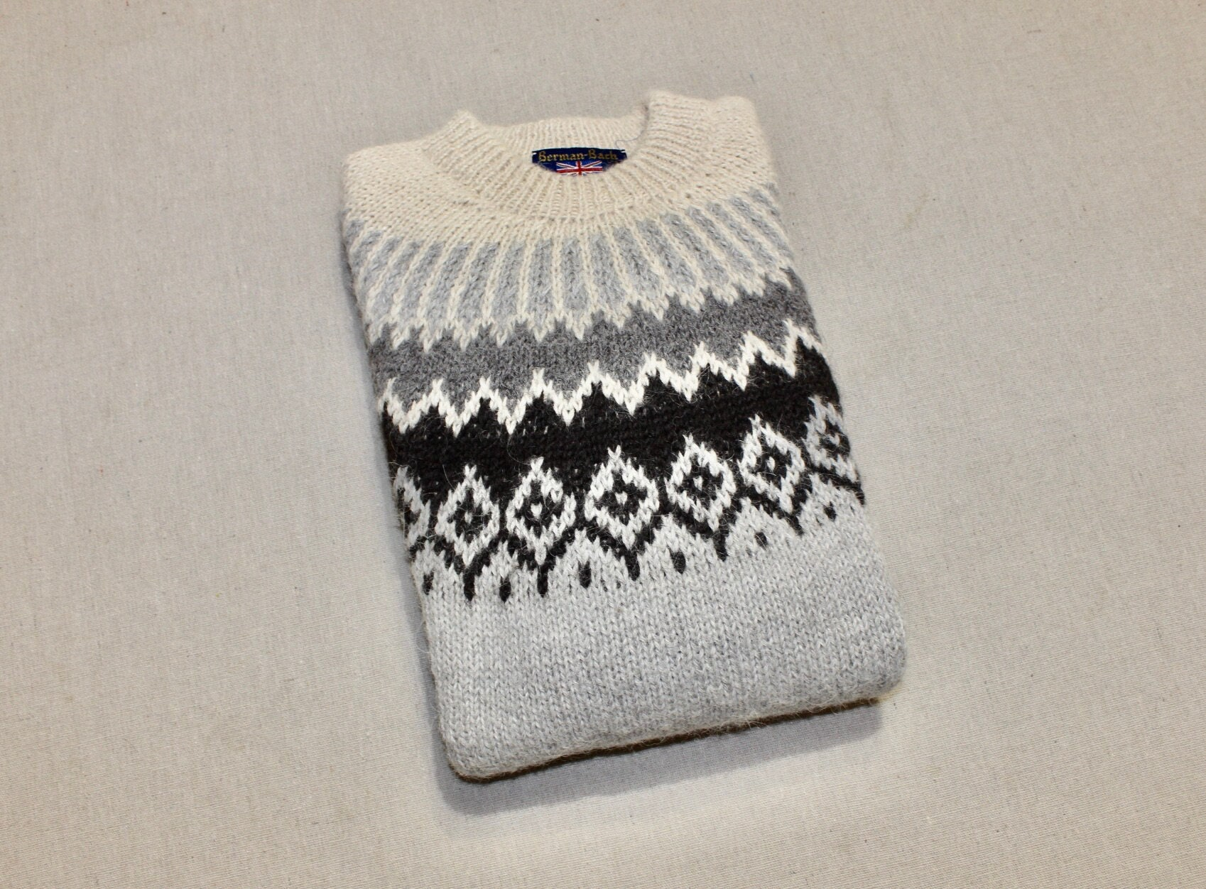 80s Sweatshirts, Sweaters, Vests | Women Vintage 1980s -Berman-BachMilwaukee- Type. Unisex Crew Neck Sweater. Icelandic Design - 100 Alpaca. Boys Large Or Womans Small $74.79 AT vintagedancer.com