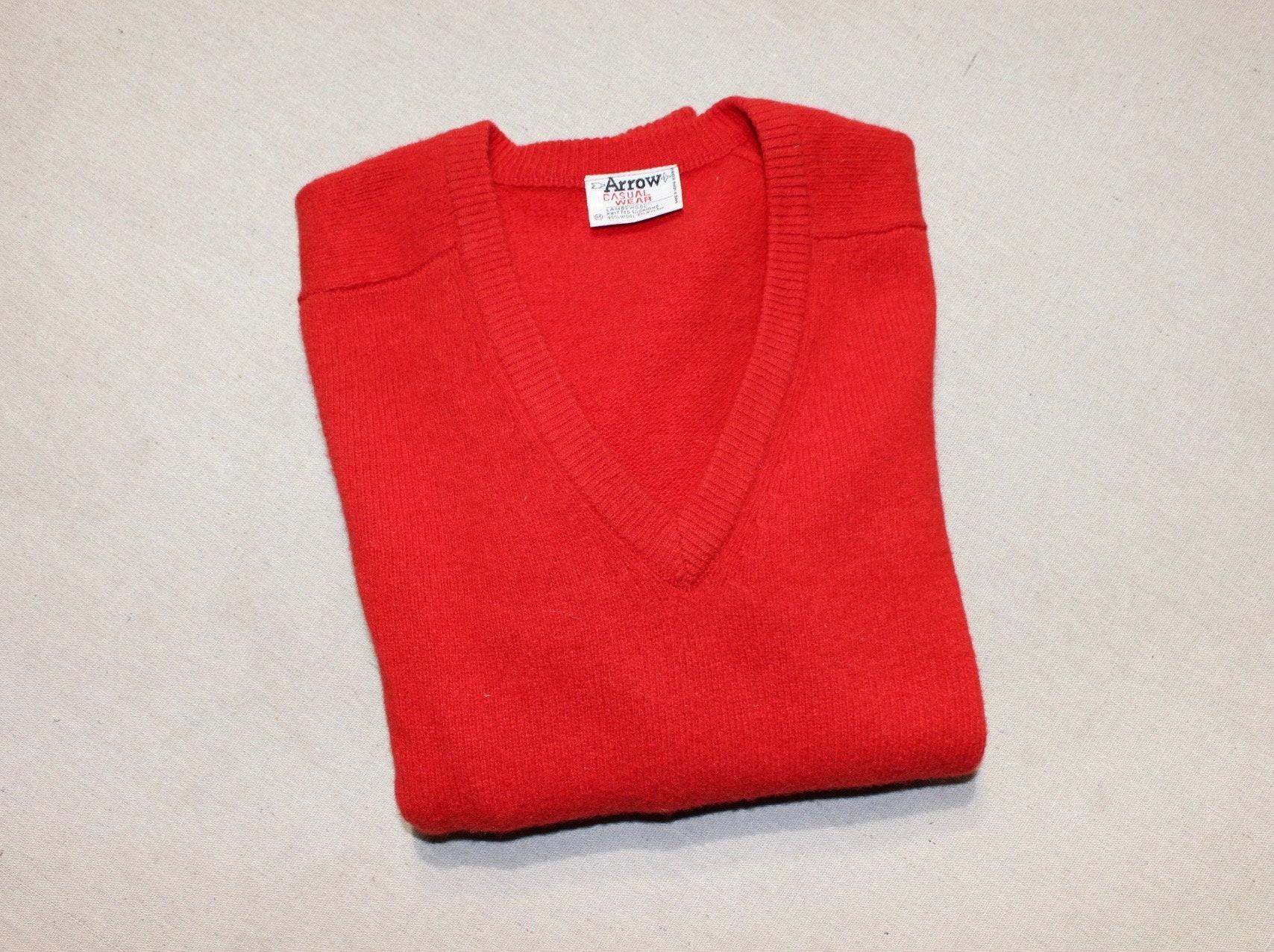 1960s – 70s Men's Ties | Skinny Ties, Slim Ties Vintage 1960s -Arrow- Mens V-Neck Pullover - Saddle Shoulder Sweater.solid Red Lambswool Blend. Made in Hong Kong. Medium Size 40 $41.95 AT vintagedancer.com