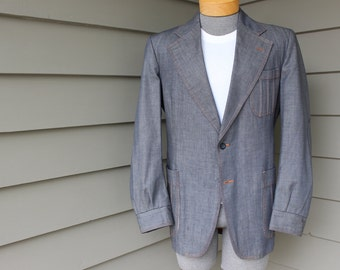Must see...vintage 1970's Men's sport coat by Peters.  Wacky denim with Madras lining. Size 39 - 40 Long
