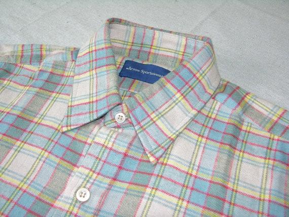 vintage 70's 80's Arrow Sportswear Men's long sleeve Flannel Shirt. 'New Old Stock'. Multicolor Plaid All Cotton. Medium