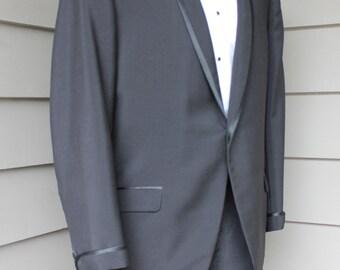 Vintage 1960s Tuxedo Pants. Satin Stripe. Metal Zipper. Flat Front. Tapered Leg Unhemmed. Waist 38. G6Eha