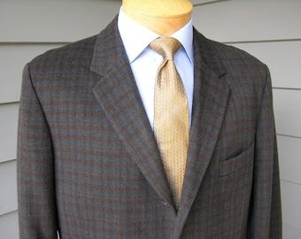 vintage 50's - 60's Men's Custom Made sport coat.  Brown & Blue Plaid - Heavy - Plush, velvety nap.  Hong Kong. Size 41 - 42 Long
