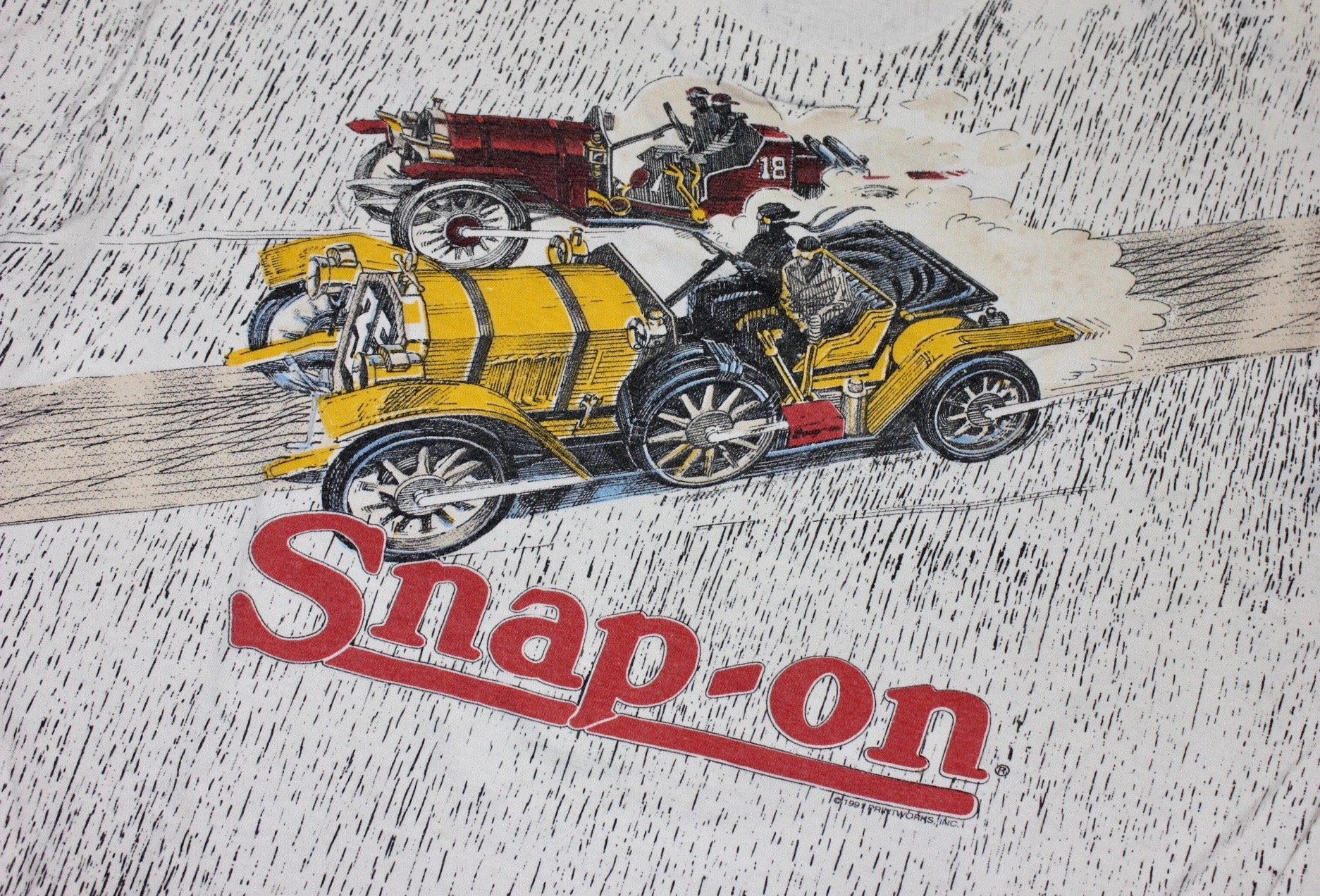 Men's 1920s Style Ties, Neck Ties & Bowties Vintage 1980s -Fruit Of The Loom- Unisex T- Shirt. Snap-On Tools - Early Automobile. Ring-Spun Cotton Print On White. Mens Large $5.50 AT vintagedancer.com