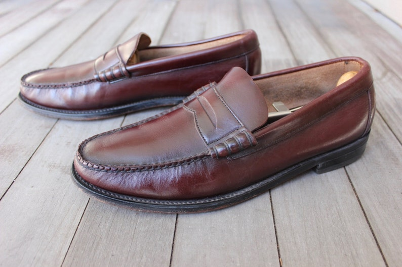 387a520408436 vintage 1970's -Florsheim- Beef roll Penny Loafers. Like 'NeW'. Antiqued  Oxblood - All leather. Made in USA. approx. Men's Size 8 1/2 D