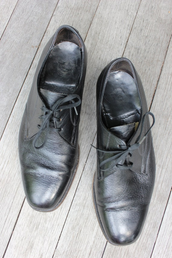 vintage anni 60 70 di Florsheim Plain Toe Derby scarpe uomo. Naturale a grana Jet Black 'Bella' taglia 8 12 E