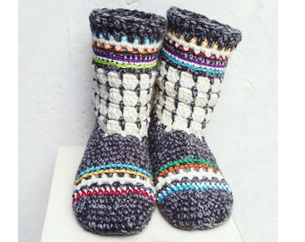 ce49eff269c1c9 Fair Isle Oslo Boots for Adults - Crochet slipper PDF Pattern - Instant  Download Pdf