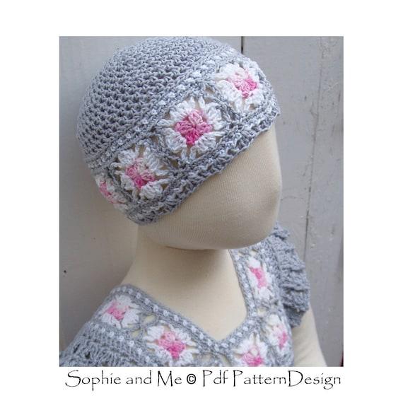Granny Square Beanie-Hat Crochet Pattern Instant Download  e563461f5b0