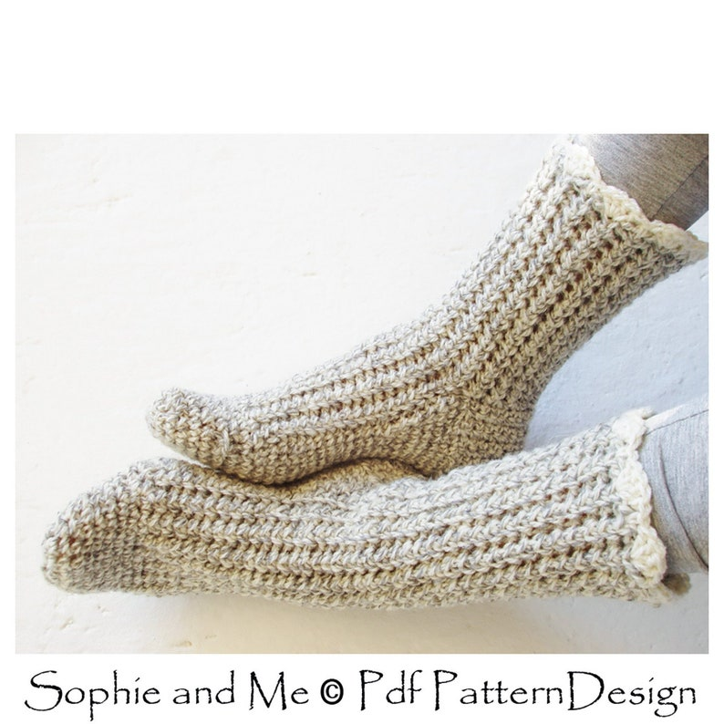 284d88eb8f4311 Ribbed Basic Crochet Socks Crochet Pattern Instant Download