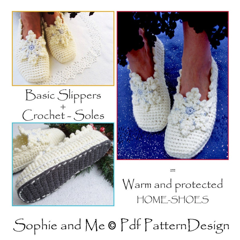 3f5c4b53fae92 E-BOOK for Snowflake Slippers + CROCHET-Soles - Instant Download Pdf