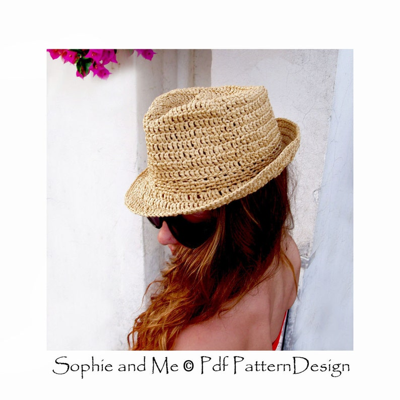 ce80c7859 Raffia Hat - Fedora- or Stetson-Style Sun-Hat- Crochet Pattern - Instant  Download
