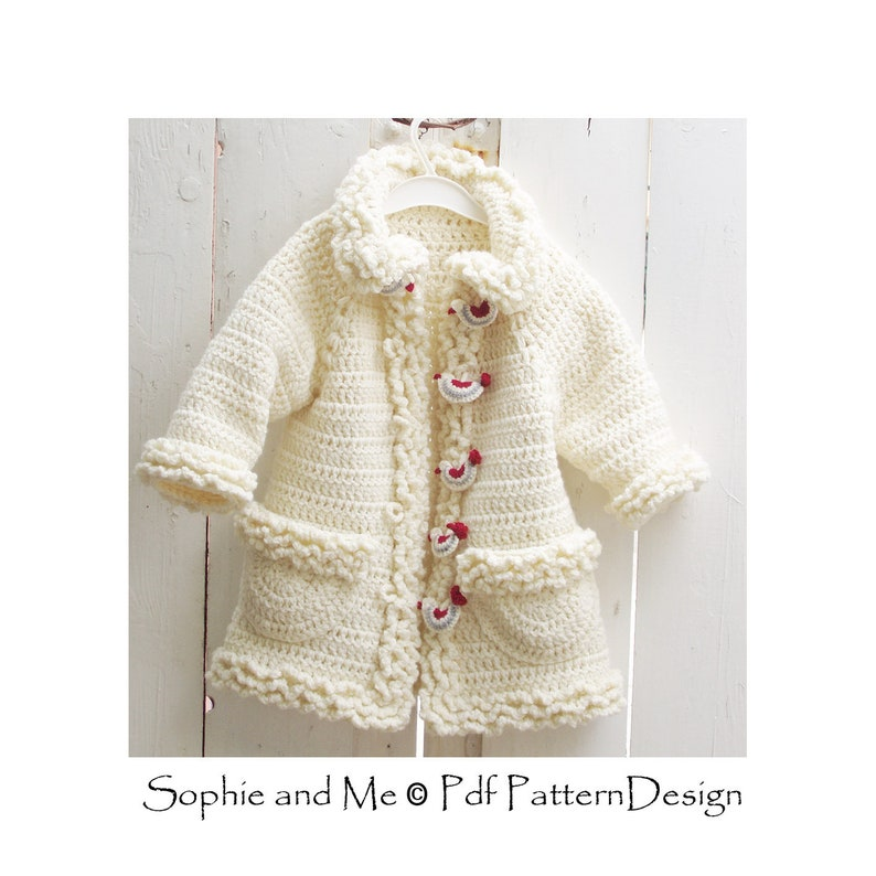 b81204648 Sophie Coat with Bird-Buttons Cardigan for Girls Crochet