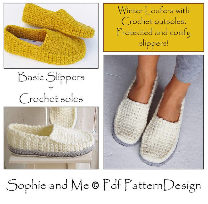 8933a41a8bd65 E-Book for Winter Loafers - Slippers + CROCHET-Soles - Instant Download Pdf
