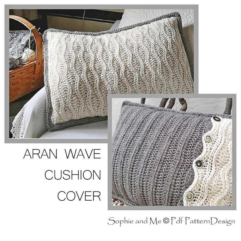 38240c36dcc916 Aran Wave Cushion Cover Crochet Pattern DIY Instant