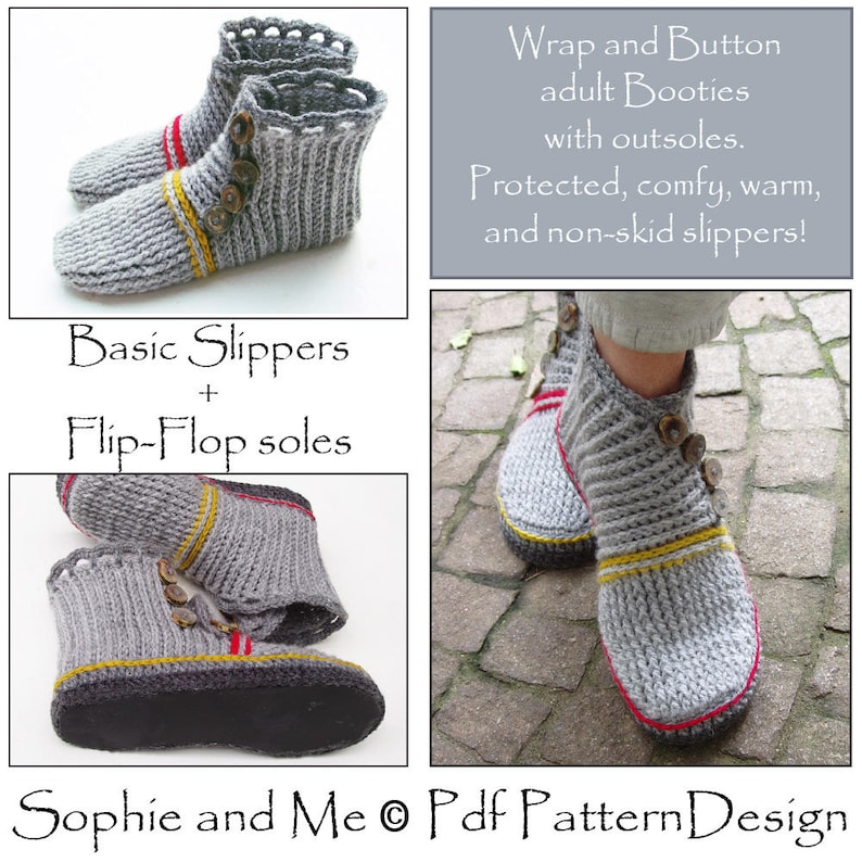 9c05c279e2f15 E-Book Wrap and Button Adult Booties - and No poke Flip-Flop Soles-Soles -  2 patterns - Instant Download Pdfs