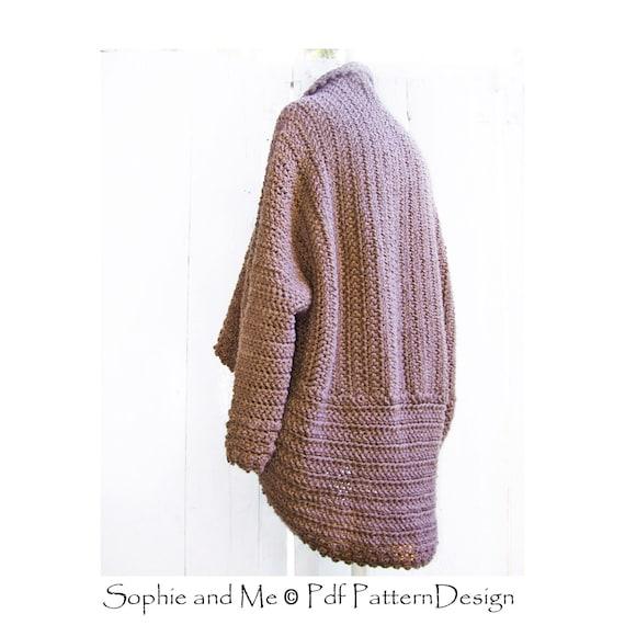 Brown Cuffed Shawl Cardigan Crochet Pattern Instant
