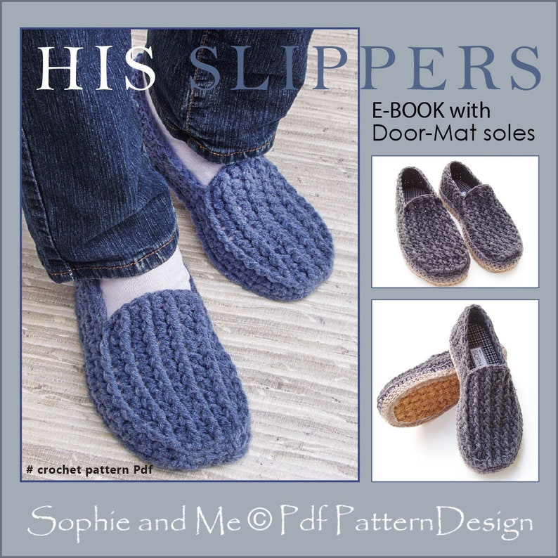 557db691221f2 E-BOOK His Loafer Slippers with Customized DOOR-MAT-Soles for  indoor-out-door-wear - Instant Download Pdf