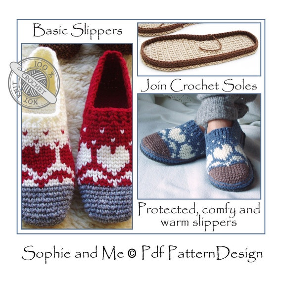 60b6ad4008148 E-BOOK for Snow Heart Slippers with CROCHET-Soles - Instant Download Pdf