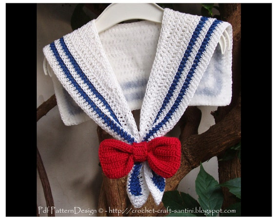 Sailor Collar Crochet Pattern With Red Bow For Nautical Dress Etsy