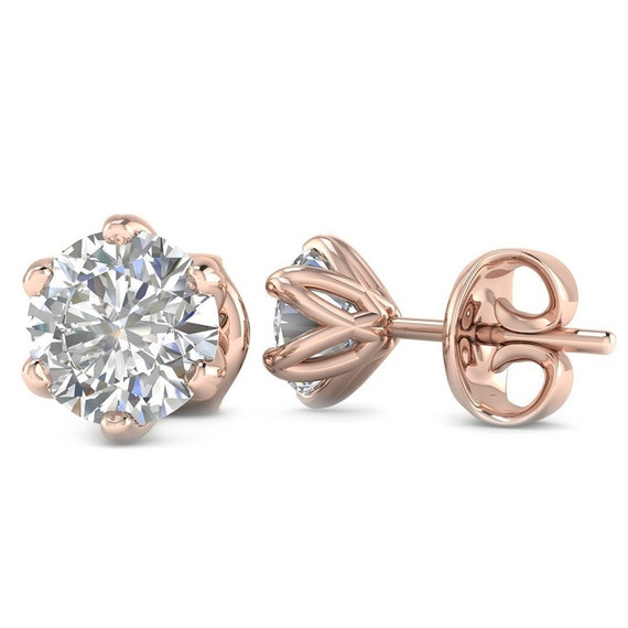 86f9bc4a7508c 14k Rose Gold 6-Prong Unique Diamond Stud Earrings - 1.00 carat D-SI1  Natural, Butterfly Push-Backs