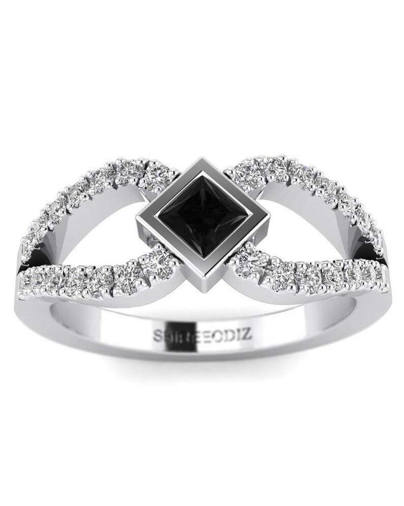 6d3d132697 14K Princess Cut Black Diamond Promise Ring in White Gold | Etsy