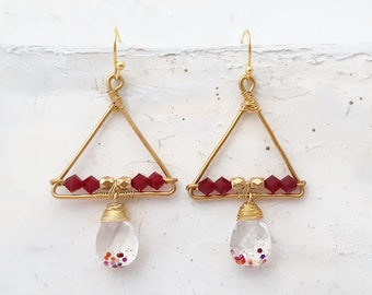 Triangle Earrings with Glass Teardrop - Wire Wrapped Earrings with Red Crystals, Triangle Hoop Earrings