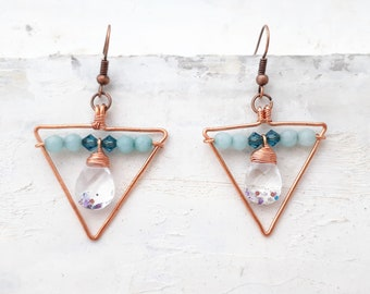 Triangle Earrings with Glass Teardrop - Wire Wrapped Earrings with Crystals and Light Blue Jade, Triangle Hoop Earrings