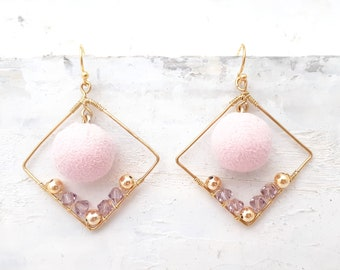 Square Earrings with Pink Pom Pom - Square Hoop Earrings, Wire Wrapped Earrings with Crsytals, Pink Earrings