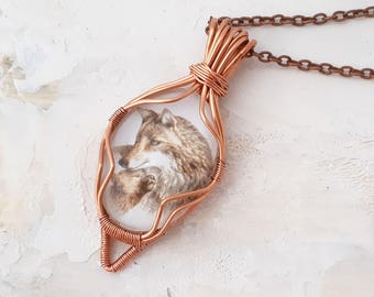 Wolf Necklace Wire Wrapped - Wolf Art Pendant Necklace, Wire Wrapped Pendant, Wolf Jewelry