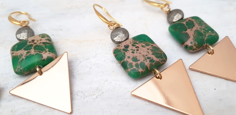 Green Dangle Earrings with Imperial Jasper Square and Triangle Metal Blanks
