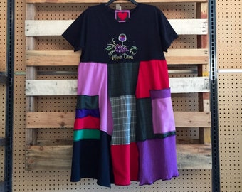 Upcycled T-Shirt Dress, Refashioned Clothing , Colorful Artsy Patchwork Wine Tasting Loose Fit Dress , size Large