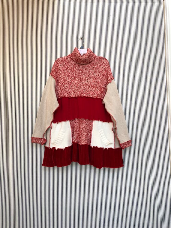 42ad326a08b Upcycled Patchwork Sweater Tunic Oversized Refashioned Red