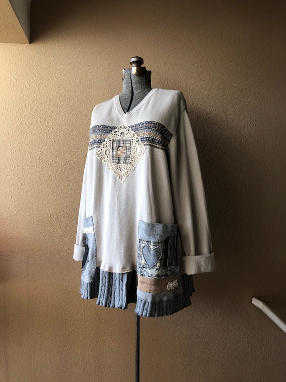 077dcf162def Upcycled Oversized M L XL Plus Size Tunic Cotton Sweater
