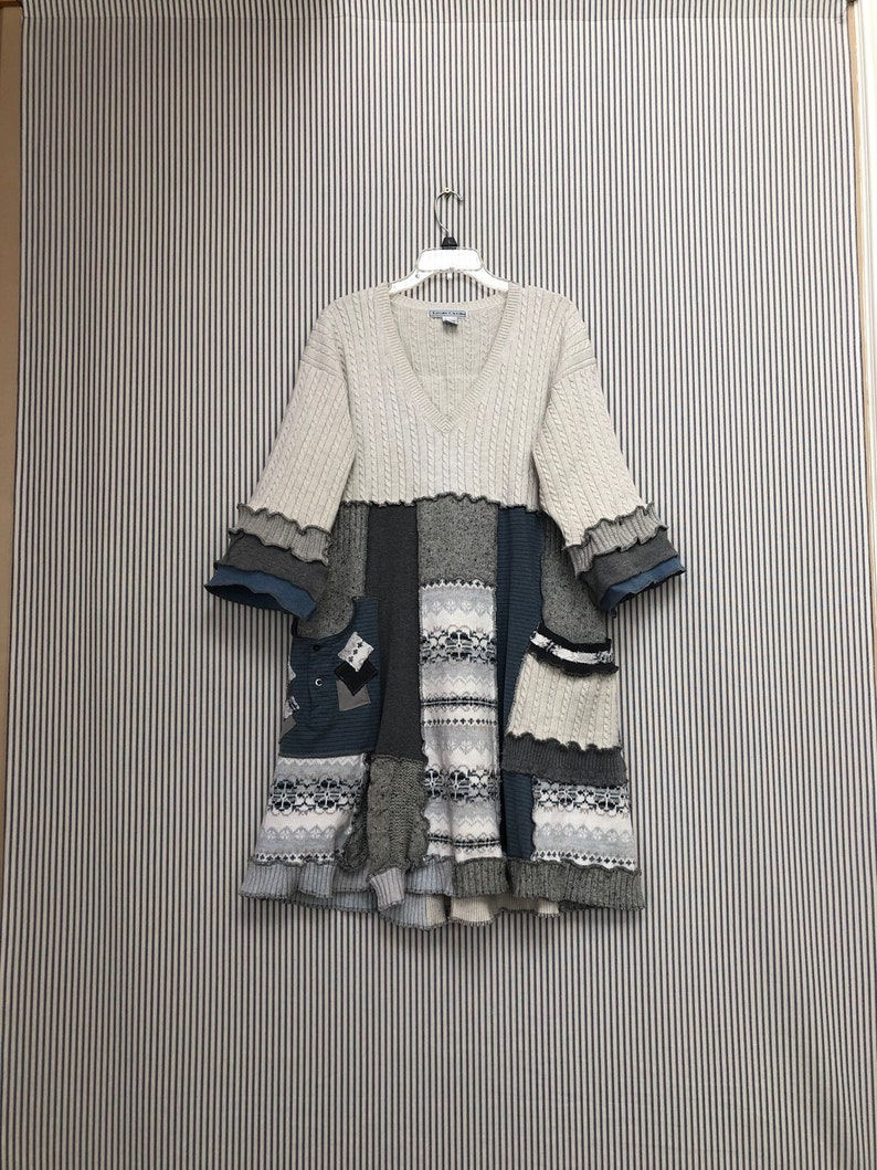 b5375434e06 Upcycled Oversized Patchwor Winter Sweater Dress or Tunic