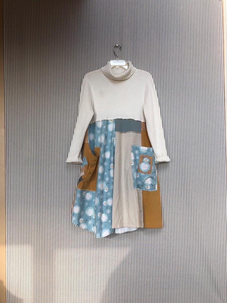 9967db1f0da9 Upcycled Winter Sweater Snowman Dress Warm Oversized Shabby