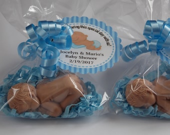 10 SLEEPING BABY Soap Favors {With Tags & Curly Ribbon} - Newborn Baby Soap Favor, Baby Shower Favor, Baptism Favor