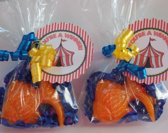 25 CARNIVAL GOLDFISH Soap Favors {With Tags & Curly Ribbons} - Carnival Birthday Favor, Circus Baby Shower, Fish Bridal / Wedding Favor